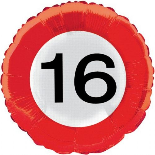 Traffic Sign 16th Party Foil Balloon Packet Birthday Party Helium Decoration
